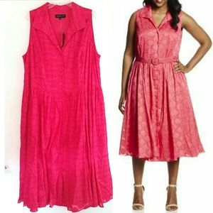 20W Jones New York Sleeveless Shirt Dress Flamingo